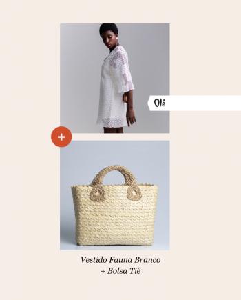Kit 11 Vestido Fauna Branco e Bolsa Tiê